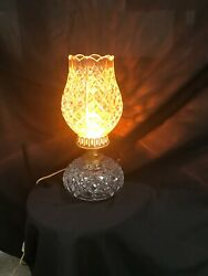 Vintage Waterford Crystal Tulip Top Shaped Shade Hurricane Table Lamp Ds43