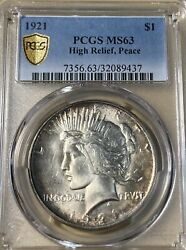 1921 Pcgs Ms63 High Relief Peace Silver Dollar