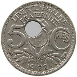 France 5 Centimes 1932 Minting Error Off-center Hole A39 527