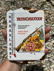 Vintage Winchester Porcelain Thermometer Gun Firearm Hunting Gas Oil Garage Sign