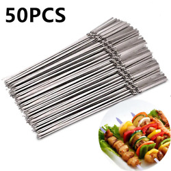 50pcs/set Reusable Flat Stainless Steel Barbecue Skewers Bbq Needle Stick For Ou