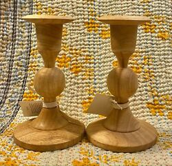 Sir Madam Handmade Wood Carved Candle Stick Holders Taper Candlestick Set Pair