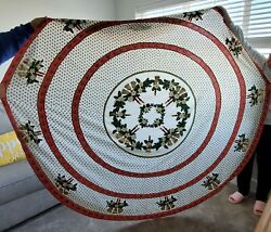 Ornate Vintage Hand Applique Beading Sequins 77 Round Christmas Tablecloth