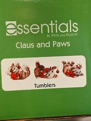 New Fitz And Floyd Essentials Tumblers 3 Cat Figurines Christmas Claus And Paws