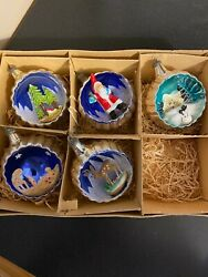 Vintage Mercury Glass 3d Diorama Indent Christmas Ornaments Italy