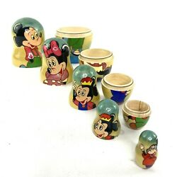 Disney Mickey Mouse Minnie Set Of 5 Nesting Dolls Morty And Ferdie Wood Russian