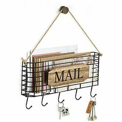 Mail Holder, Rustic Mail Organizer Wall Mount Hanging Large Carbonized Black