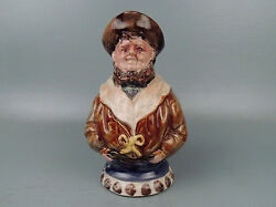 Antique French Nimy Majolica Figural Pitcher Of A Sailor Majolica Pottery Pt