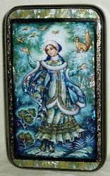 Russian Lacquer Box Kholui Snow Maiden With Squirrel And Birds Handpainted