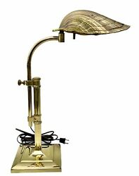 Brass Clam Shell Scallop Table Desk Lamp Chapman Style Adjustable Height