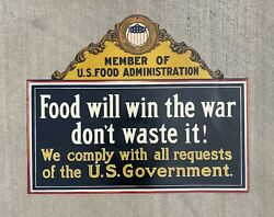 Food Will Win The War U.s. Food Government Metal Tin Sign Government Wwi Wwii