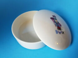 Droopy Dog White Porcelain Covered Trinket Dish Hearts Flowers Valentine