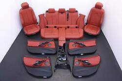 Bmw 335i Gt F34 Front Rear Red Leather Seats Center Console Door Panel Set Oem