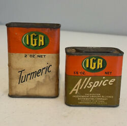 Vintage Iga Spice Tins Allspice And Turmeric Lot Of 2 Antique Tins