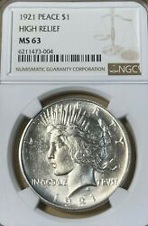 1921 Ngc Ms63 High Relief Peace Silver Dollar