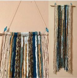 Yarn Wall Tapestry Hanging Decor Blue and Tan