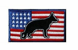 German Shepherd USA Flag Embroidered Patch Approx Size 2quot;x3quot;