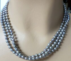 Vintage Sterling 18.5 Triple Strand 5-5.5mm Silver Real Pearl Knotted Necklace