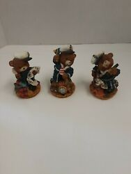 Lot X3 Sailor Nautical Bears Resin Figurines Approximately 4quot; Each One Different
