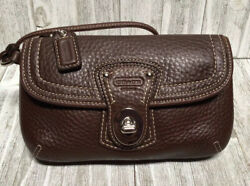 Coach Mahogany Pebbled Leather Turnlock Wristlet Clutch Purse Pouch Case $34.99