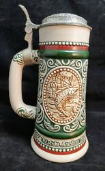 Vintage German Style Beer Stein Avon 05844 Handcrafted Brazil 1978 Trout Setter