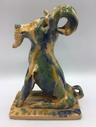 Rare Vintage North Carolina Billy Ray Hussey Earthenware Pottery Sitting Goat