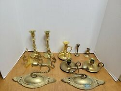 Vintage Brass Candlestick Lot of 11 Candle Holders Wedding Decor Ect Mixed