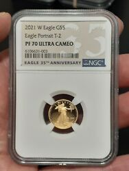 Ship Next Day 2021 W 5 1/10 Oz Ngc Pf70 Ultra Cameo Proof Gold Eagle T-2 Type 2