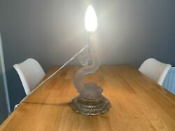 Vintage Baccarat France Frosted Glass Dolphin Lamp