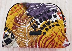Vera Bradley Large Zip Cosmetic Bag Painted Feathers Travel Cotton Nwt Msrp 34