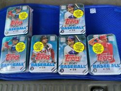 6 Tins Mlb Topps 2021 Series 1 Trading Card Tin 75 Cards Each Factory Sealed