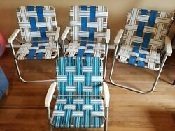 Lot Of 4 Vintage Aluminum Folding Beach Lawn Patio Outdoor Chairs Webbed Straps