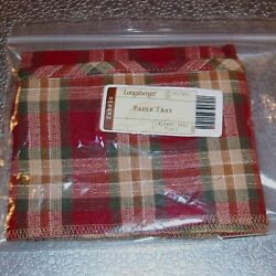 Longaberger Orchard Park Plaid Paper Tray Basket Liner Made In Usa Last One