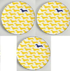 Kate Spade Wickford Dachshund Plates X 3 Luncheon By Lenox 9 Yellow Navy Blue