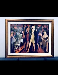 Atvandil Limited Edition Embelleshed Giclee on Canvas :quot; An Evening For Twoquot; $1300.00