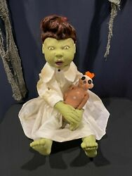 Spirit Halloween Zombie Baby Molly Dolly 2011 Animatronic Prop With Voodoo Doll
