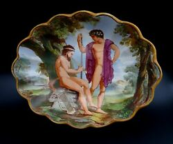 Antique Bowl Ancient Greek Theme Satyr Playing Flute Samuel Alcock And Co C.1850