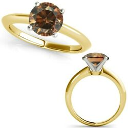 3 Carat Real Diamond Champagne Cognac 14k Yellow Gold Solitaire Engagement Ring