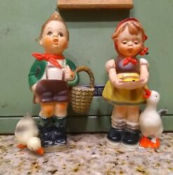 Vintage Christmas Ornaments Figures Hansel amp; Gretel with Geese Great Colors