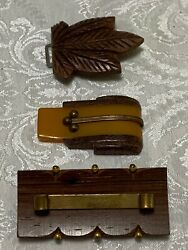 3 Pc Lot Mcm And Deco Wood And Bakelite Jewelry Pin And Parts Vintage Antique Projects