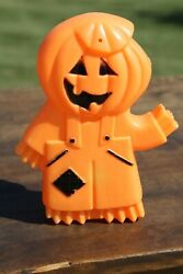 Vintage Halloween Blow Mold Lighted Pumpkin Head Scarecrow Guy Double Sided Rare