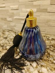 Cobalt Blue And White Accents Perfume Bottle Atomizer With Gold Tone Top Vtg