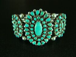 Vintage Zuni Turquoise And Silver Cluster Bracelet-great Stones