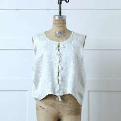 Vntg Boho Hippie Hand Embroidered White Satin Blouse Vest Mexican Embroidery