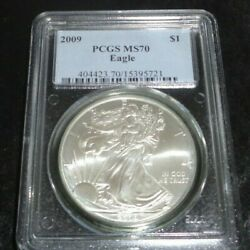 2009 Us 1 American Silver Eagle Pcgs Ms70 Mint State High Grade Dollar Coin