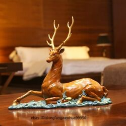 China Brass Copper Color Copper Home Decoration Lucky Fengshui Deer Sculpture