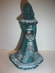 Fenton Glass Teal One Of A Kind Ooak Vining Hearts And Flowers Bridesmaid Doll