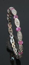 14 Carat White Gold Pink Sapphire And Diamond Full Eternity Ring Size R 70.21.048