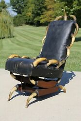 Antique Steer Horn Chair Leather Recliner Texas Barbarian Cabin Rustic Decor Vtg