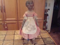 Antique Cloth Folk Art Rag Doll Sweet Painted Face Old Pink Dress Apron